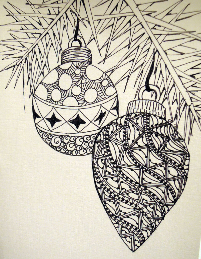 Christmas Card :: Black Tail Design: blacktaildesign.com/zentangle/christmas-card